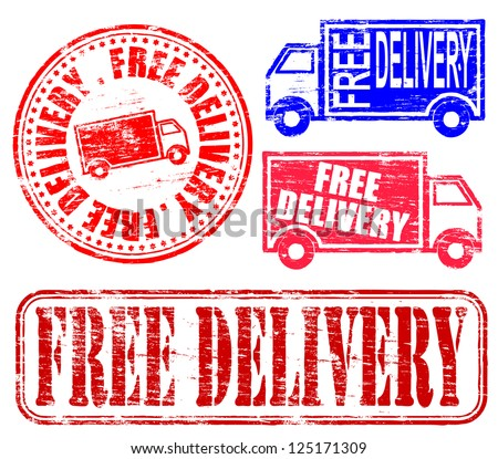 Free delivery grungy rubber stamp illustrations
