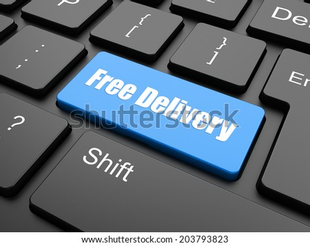 free delivery key on laptop keyboard - stock photo