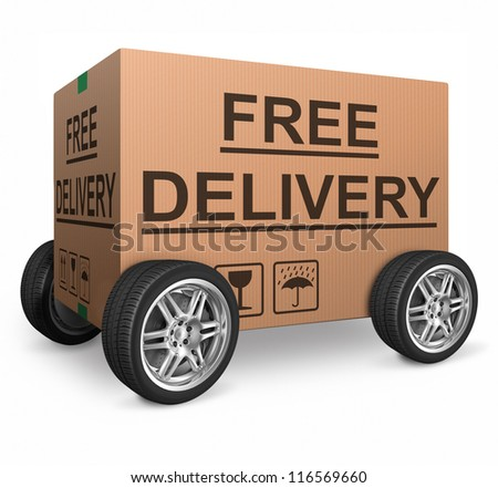 free delivery or package shipping order web shop shipment in cardboard box icon for online shopping ecommerce button - stock photo