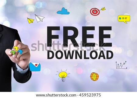 Free Download and Businessman drawing Landing Page on white background #459523975
