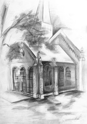Free-hand drawing by pencil on paper. Church.
