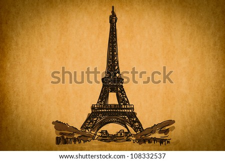 Free hand sketch collection: Eiffel Tower, Paris, France on old paper texture