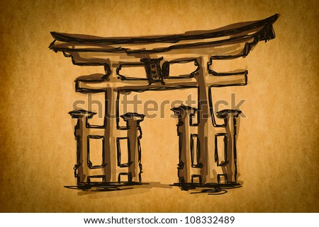 Free hand sketch collection: Japan Traditional Gate, Japan on old paper texture - stock photo