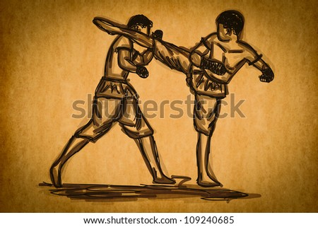 Free hand sketch Thai Boxing Collection : Muay Thai martial art popular around the world.
