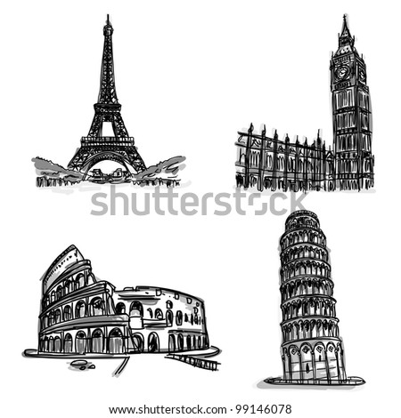 Free hand sketch World famous landmark collection