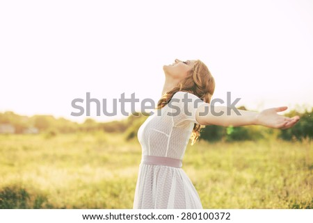 Free Happy Woman Enjoying Nature. Freedom concept.