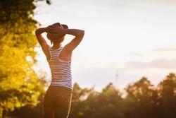 Free Happy Woman Enjoying Nature. Freedom concept. Enjoyment.