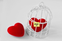 Free heart and heart in a bird cage with the word Ego written on paper note  - Love and freedom concept