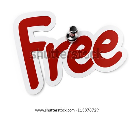 free red sticker fixed with a thumbtack over white background