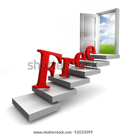 free red word on stair up to open conceptual door with view to sky and field on white background