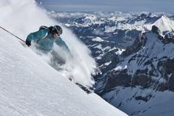 Free ride skier turns in powder snow.