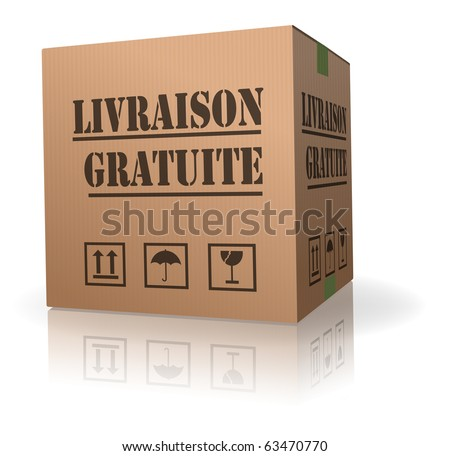 free shipment of online shopping order delivery of cardboard box shipping in French livraison gratuite