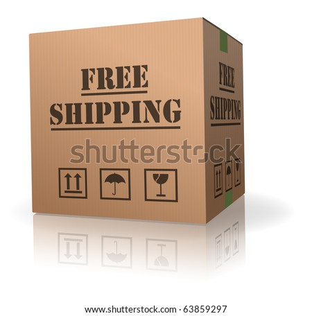 free shipment shipping package delivery cardboard box parcel with text order shipment logistics after online shopping deliver packet or relocation and moving