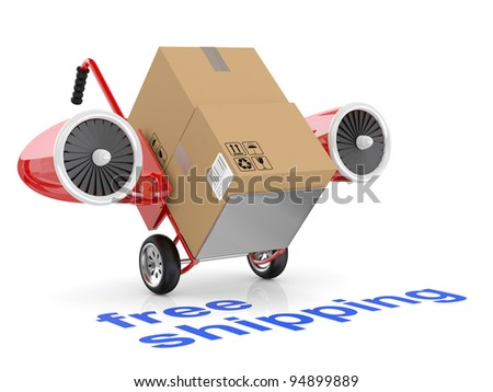 Free shipping concept. Hand truck and carboard boxes.