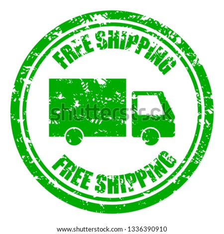 Free shipping guarantee rubber stamp with lorry. Grunge rubber delivery stamp for business moving service. illustration