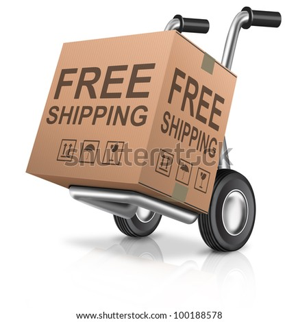 Free Shipping Or Delivery For Online Order Of A Web Shop Cardboard