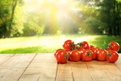 free space on table and red vegetables of tomato