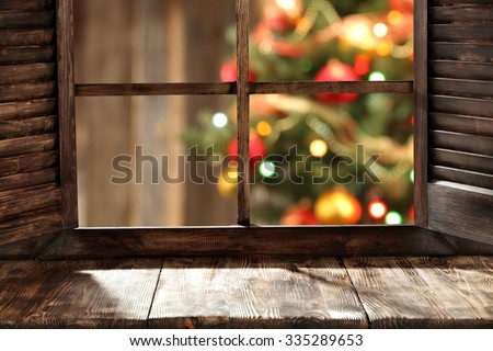 free space on window sill and xmas tree