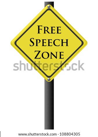 Free Speech Zone sign in yellow and black. Isolated on white.