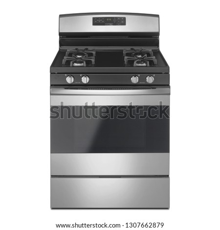 Free Standing Electric Range Isolated on White Background. Front View Steel Fingerprint Resistant Freestanding Kitchen Stove with Convection and Warming Drawer. Range Cooker with 4 Five Burner Cooktop