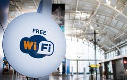 Free wi-fi signboard in airport, wifi zone