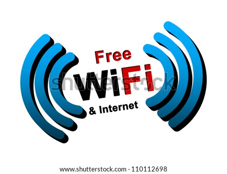 Free WiFi and Internet Zone Isolated on White Background