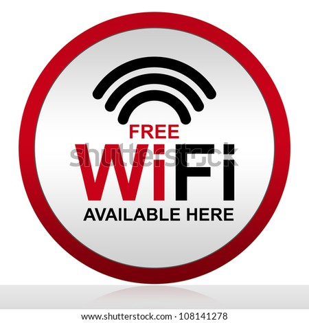 Free WiFi Available Here With Circle Metal Style Icon Isolate on White Background