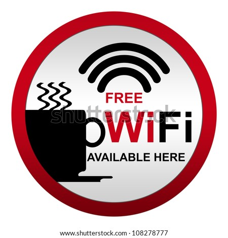 Free WiFi Available Here With Coffee Cup Icon in Circle Metal Style Icon Isolate on White Background - stock photo