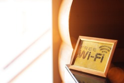 Free WiFi message board. A frame with a message about the availability of wi fi in a hotel