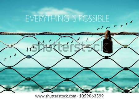 freedom concept. image fence and old rusty lock and birds flying in the horizon. everything is possible slogan #1059063599