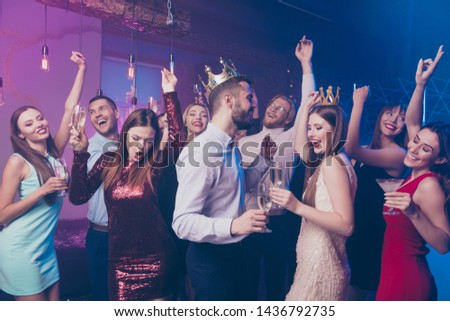 Freedom! Crazy wild university college people hold hand glass moving dance floor celebration event discotheque formalwear formal wear dress suit shirt buddies indoors