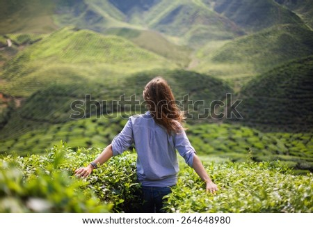 freedom girl in mountains