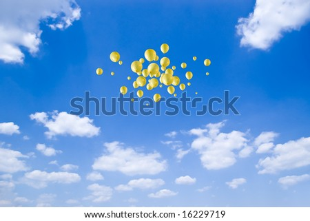 freedom - group yellow balloons no blue sky