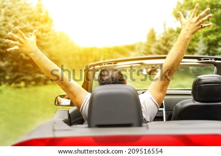Freedom - Happy free man in the car #209516554