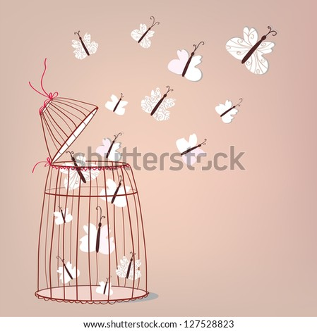 Freedom illustration - cage and butterflies flying