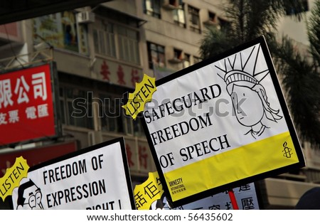 Freedom of Speech sign post - protest from July 1st Demonstration 2010 in Hong Kong