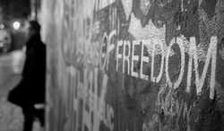 Freedom written on the John Lennon Wall at Prague. It was a freezing night but fun to take.