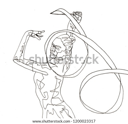 Freehand Contour Line Drawing of Rhythmic Gymnastics on paper by black pen. People Illustrations