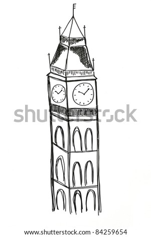 Freehand draw Big Ben Houses of Parliament Westminster Palace London gothic architecture - stock photo