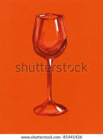 Freehand drawing -Wine glass-