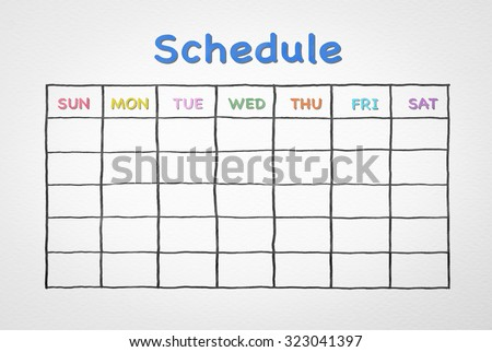 Freehand pen doodle sketch drawing of blank monthly grid timetable schedule on white background