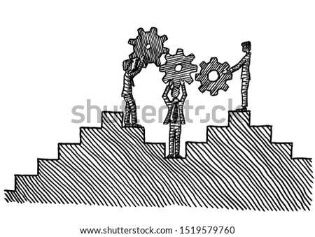Freehand pen drawing of three business men holding up three cog wheels to form a gear train. Metaphor for team work, cooperation, work team, partnership, co-working, colleague, communication, career.