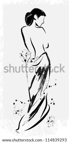 freehand sketch of beautiful girl - stock photo
