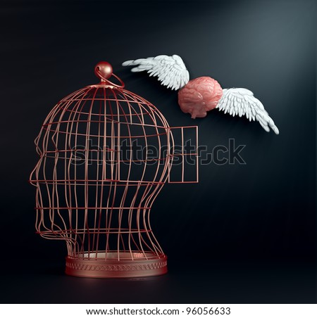 Freeing your mind - a winged brain flying away from a head-cage brain.