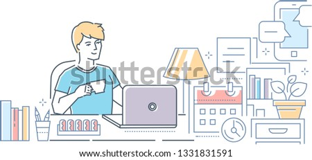 Freelance - modern line design style illustration on white background. High quality colorful composition with a young male worker sitting at the laptop, drinking coffee, working from home