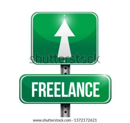 freelance street sign illustration design over a white background