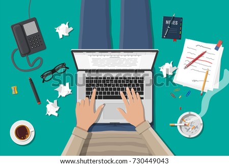 Freelance writer or journalist workplace. Laptop pc, draft, mouse. Paper sheets with text, pen, pencil. Ashtray, cigarette, coffee cup. Eyeglasses phone illustration in flat style