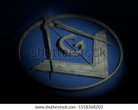 Freemasonry marble shield on blue cloth. 3D Rendering. Stock photo ©