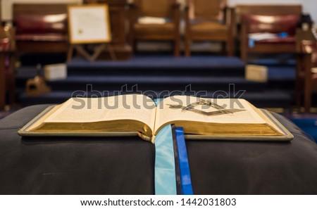 Freemasonry Square, compasses, and bible. The three great lights. Stock photo ©