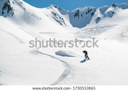 Freeride in Gudauri Georgia caucasus resort snowboarder skier